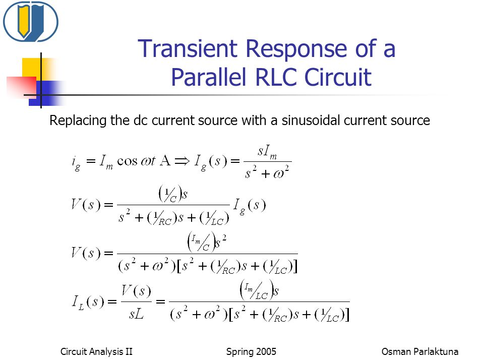 Transient Response of a Parallel RLC Circuit Replacing the dc current source with a sinusoidal current source