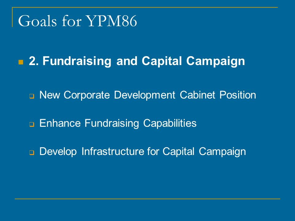 Goals for YPM86 2.