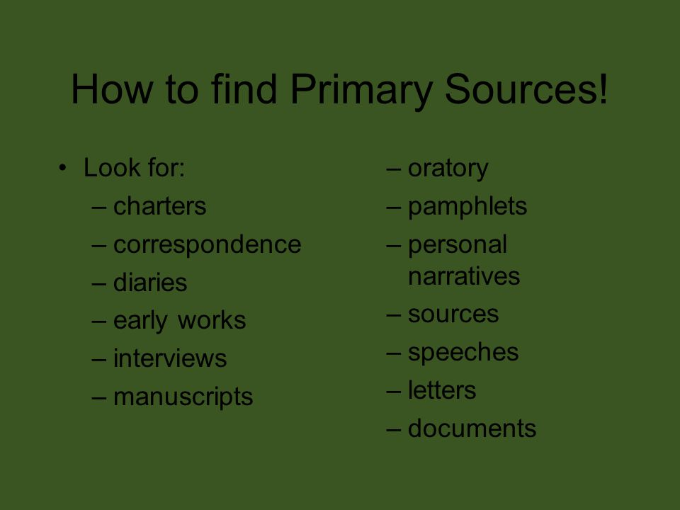 How to find Primary Sources.
