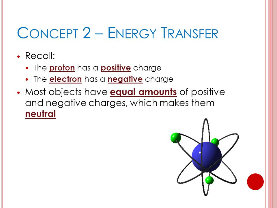 C ONCEPT 2 – E NERGY T RANSFER Recall: The proton has a positive charge The electron has a negative charge Most objects have equal amounts of positive and negative charges, which makes them neutral