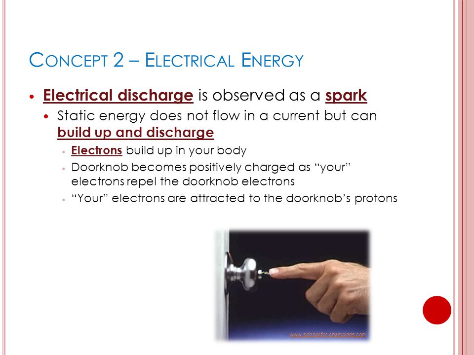 C ONCEPT 2 – E LECTRICAL E NERGY Electrical discharge is observed as a spark Static energy does not flow in a current but can build up and discharge E