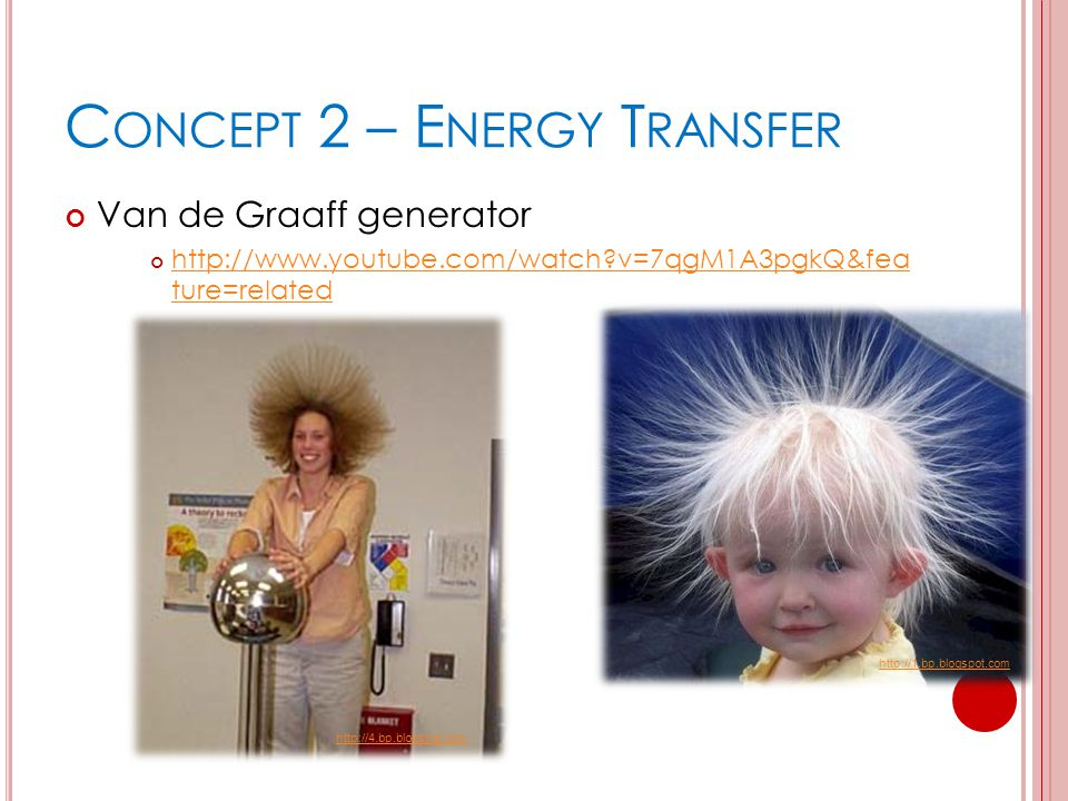 C ONCEPT 2 – E NERGY T RANSFER Van de Graaff generator http://www.youtube.com/watch?v=7qgM1A3pgkQ&fea ture=related http://1.bp.blogspot.com http://4.b