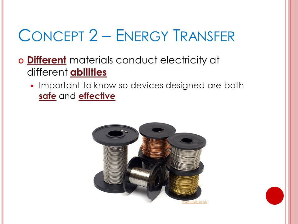 C ONCEPT 2 – E NERGY T RANSFER Different materials conduct electricity at different abilities Important to know so devices designed are both safe and effective www.mutr.co.uk