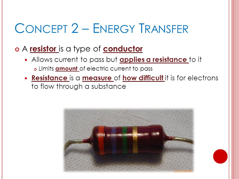 C ONCEPT 2 – E NERGY T RANSFER A resistor is a type of conductor Allows current to pass but applies a resistance to it Limits amount of electric curre