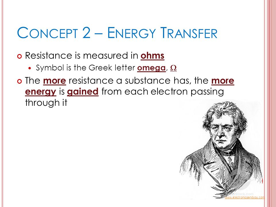 C ONCEPT 2 – E NERGY T RANSFER Resistance is measured in ohms Symbol is the Greek letter omega,  The more resistance a substance has, the more energy