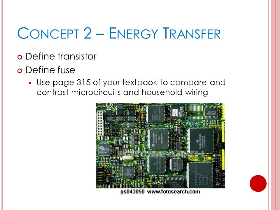 C ONCEPT 2 – E NERGY T RANSFER Define transistor Define fuse Use page 315 of your textbook to compare and contrast microcircuits and household wiring