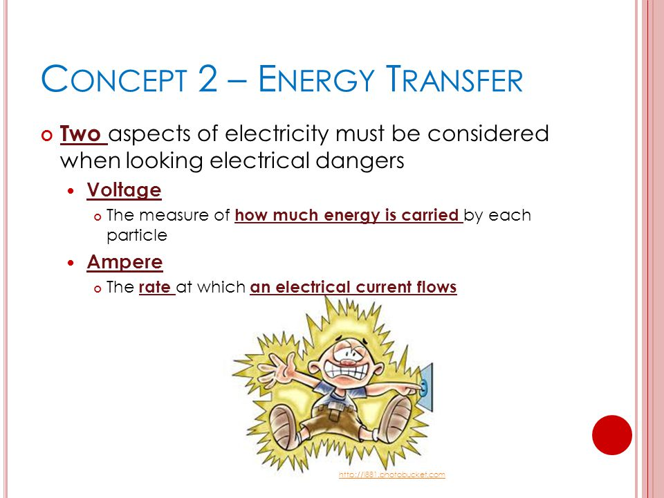 C ONCEPT 2 – E NERGY T RANSFER Two aspects of electricity must be considered when looking electrical dangers Voltage The measure of how much energy is carried by each particle Ampere The rate at which an electrical current flows http://i881.photobucket.com