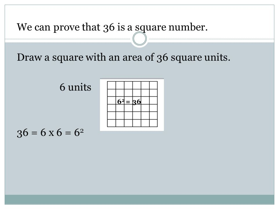 We can prove that 36 is a square number.Draw a square with an area of 36 square units.