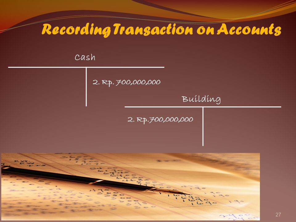 27 Recording Transaction on Accounts Cash Building 2. Rp. 700,000,000