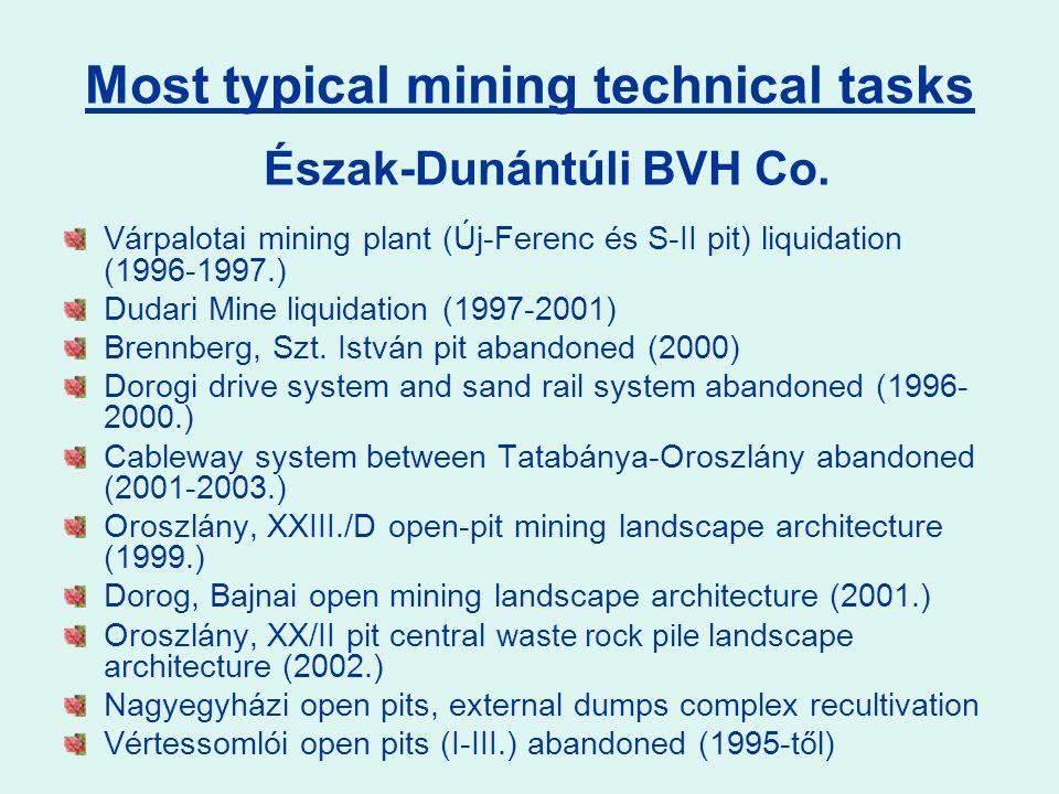 Várpalotai mining plant (Új-Ferenc és S-II pit) liquidation (1996-1997.) Dudari Mine liquidation (1997-2001) Brennberg, Szt. István pit abandoned (200