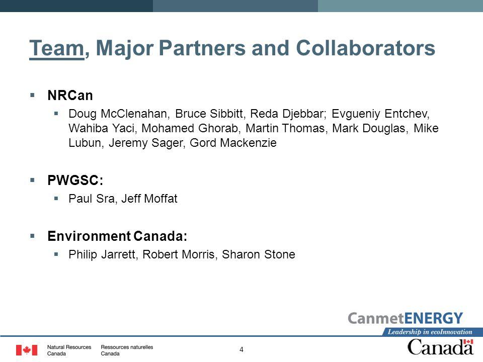 4 Team, Major Partners and Collaborators  NRCan  Doug McClenahan, Bruce Sibbitt, Reda Djebbar; Evgueniy Entchev, Wahiba Yaci, Mohamed Ghorab, Martin