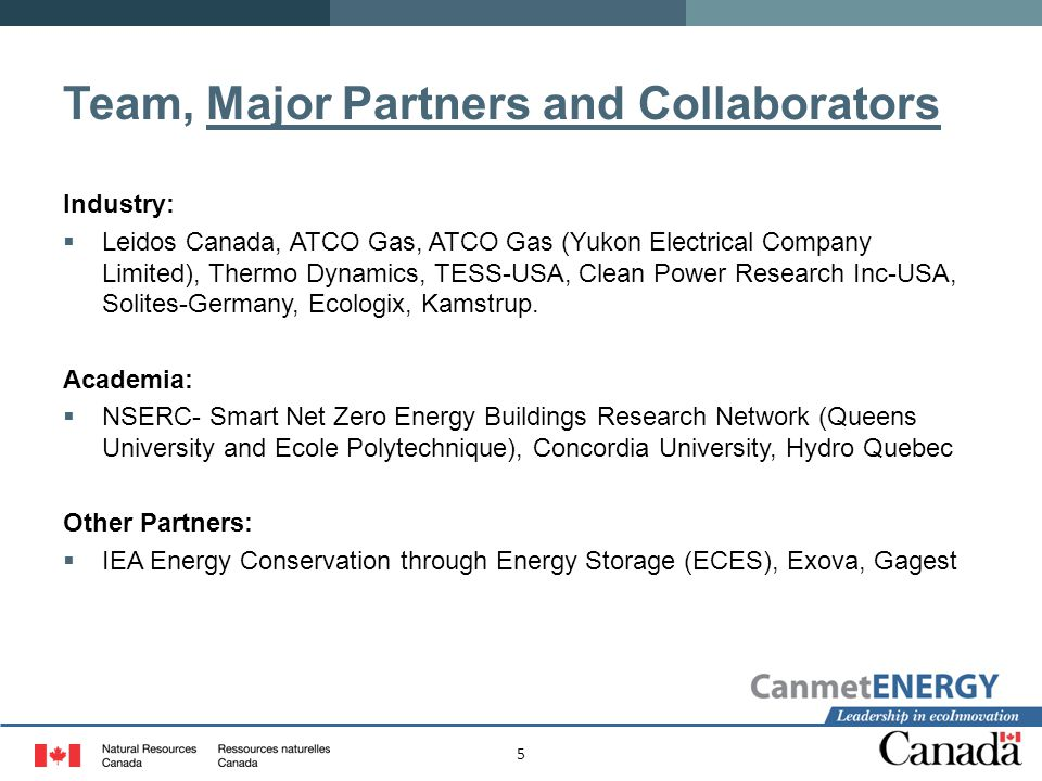 5 Team, Major Partners and Collaborators Industry:  Leidos Canada, ATCO Gas, ATCO Gas (Yukon Electrical Company Limited), Thermo Dynamics, TESS-USA, Clean Power Research Inc-USA, Solites-Germany, Ecologix, Kamstrup.