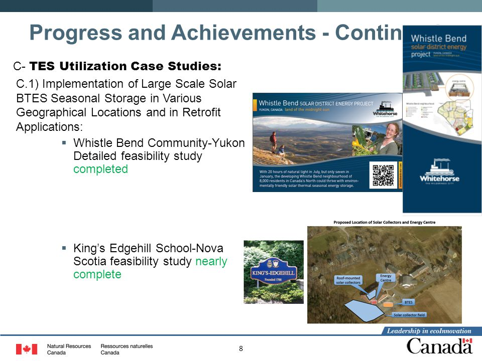 8 C- TES Utilization Case Studies: C.1) Implementation of Large Scale Solar BTES Seasonal Storage in Various Geographical Locations and in Retrofit Ap