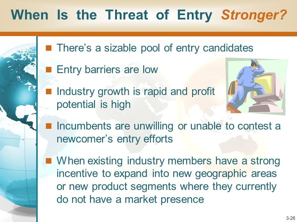 3-26 There's a sizable pool of entry candidates Entry barriers are low Industry growth is rapid and profit potential is high Incumbents are unwilling