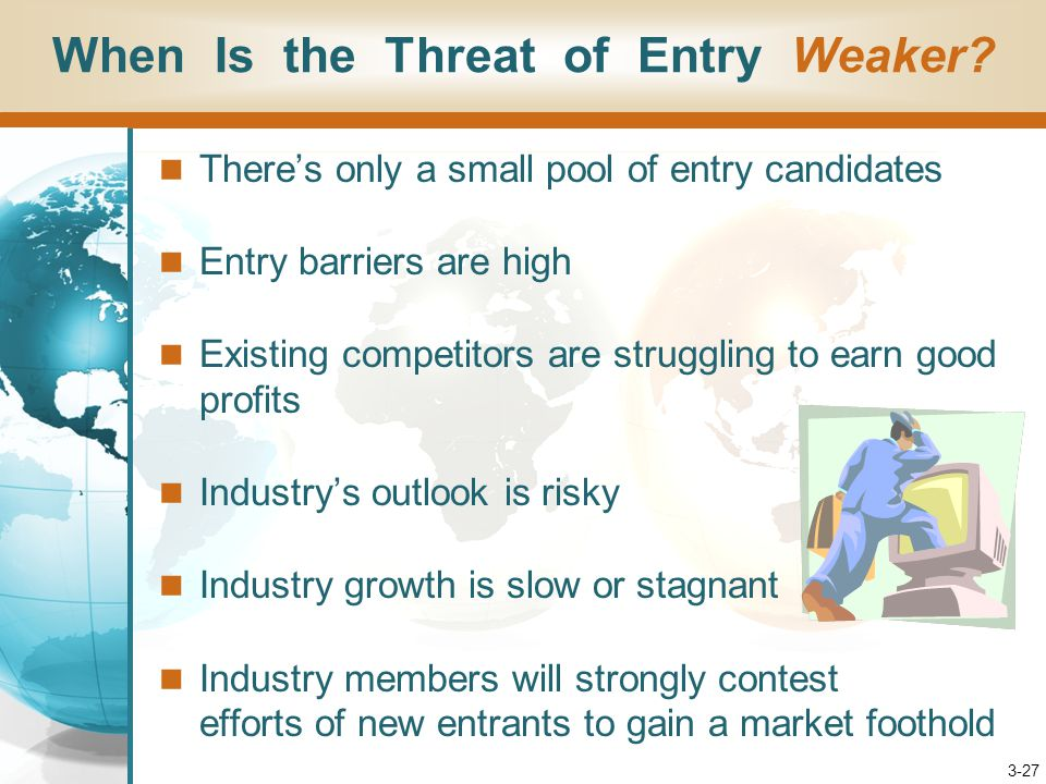 3-27 There's only a small pool of entry candidates Entry barriers are high Existing competitors are struggling to earn good profits Industry's outlook