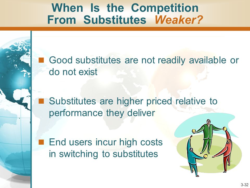 3-32 Good substitutes are not readily available or do not exist Substitutes are higher priced relative to performance they deliver End users incur hig