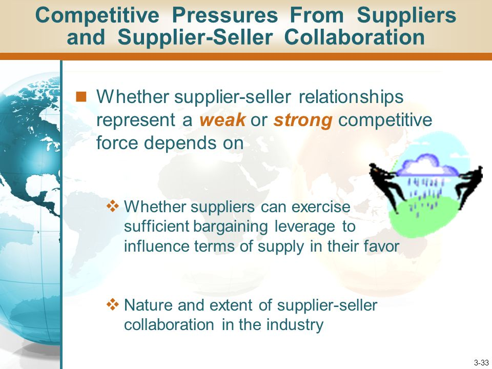 3-33 Whether supplier-seller relationships represent a weak or strong competitive force depends on  Whether suppliers can exercise sufficient bargain
