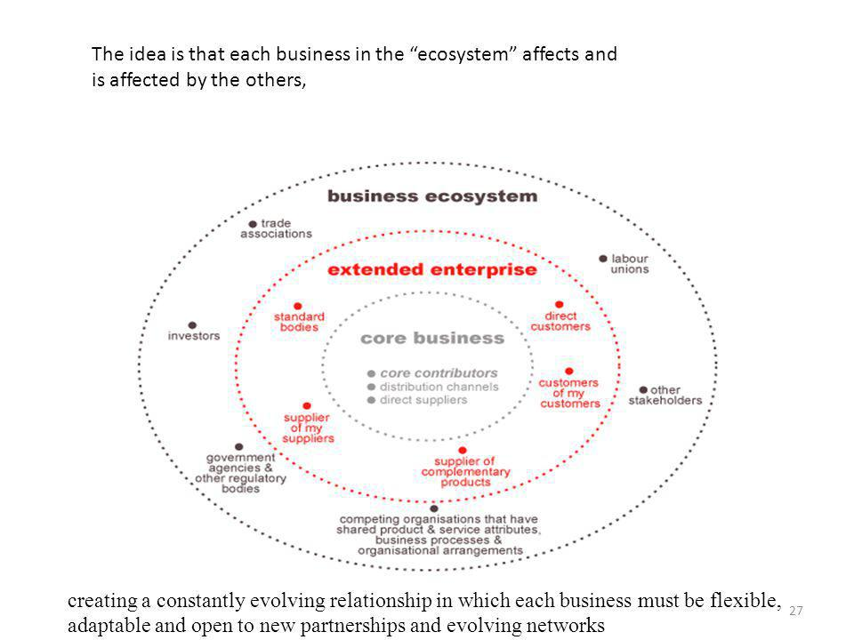 The idea is that each business in the ecosystem affects and is affected by the others, creating a constantly evolving relationship in which each business must be flexible, adaptable and open to new partnerships and evolving networks 27
