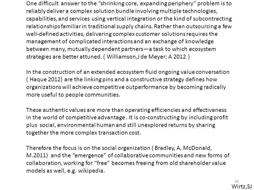 """Wirtz,SJ One difficult answer to the """"shrinking core, expanding periphery"""" problem is to reliably deliver a complex solution bundle involving multiple"""