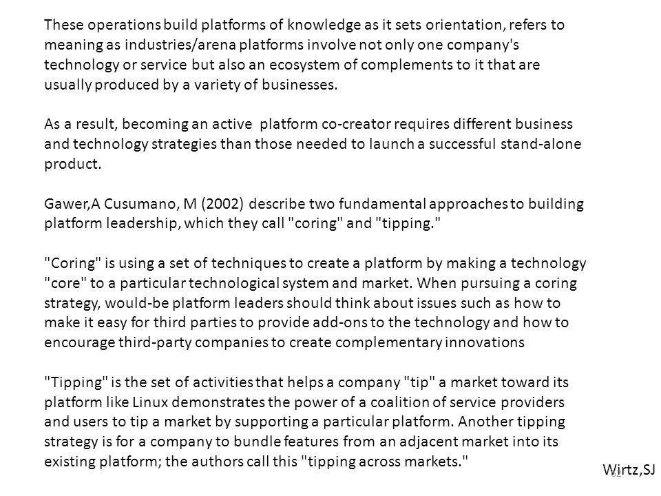Wirtz,SJ These operations build platforms of knowledge as it sets orientation, refers to meaning as industries/arena platforms involve not only one company s technology or service but also an ecosystem of complements to it that are usually produced by a variety of businesses.