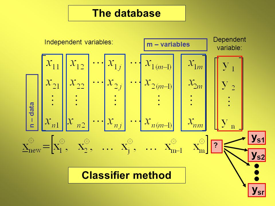 Dependent variable: The database Independent variables: n – data m – variables Classifier method y s1 y s2 y sr