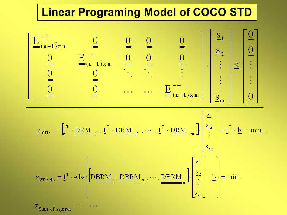 Linear Programing Model of COCO STD