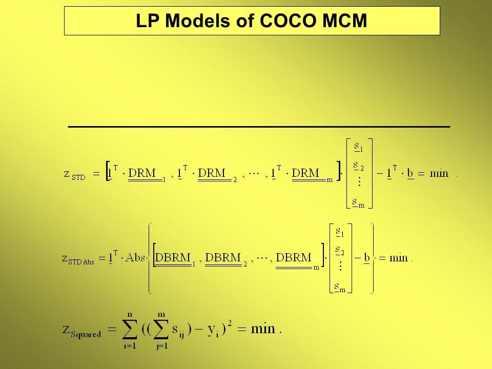 LP Models of COCO MCM