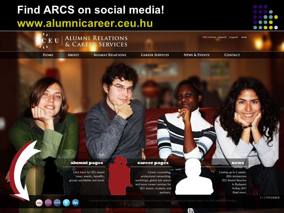 Find ARCS on social media! www.alumnicareer.ceu.hu
