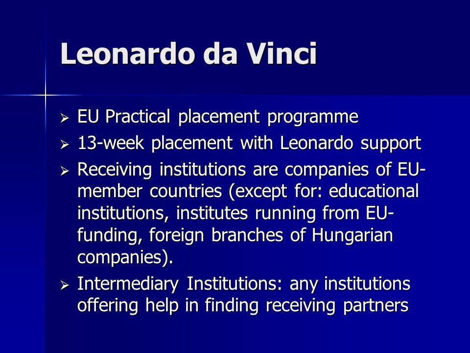 Leonardo da Vinci  EU Practical placement programme  13-week placement with Leonardo support  Receiving institutions are companies of EU- member co