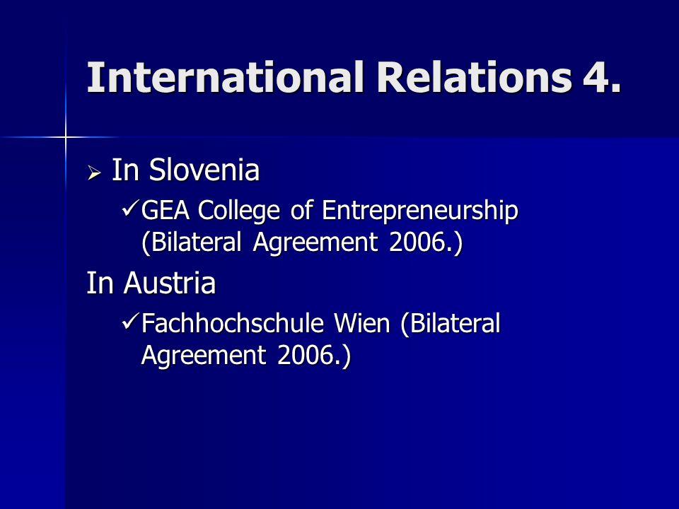 International Relations 4.  In Slovenia GEA College of Entrepreneurship (Bilateral Agreement 2006.) GEA College of Entrepreneurship (Bilateral Agreem