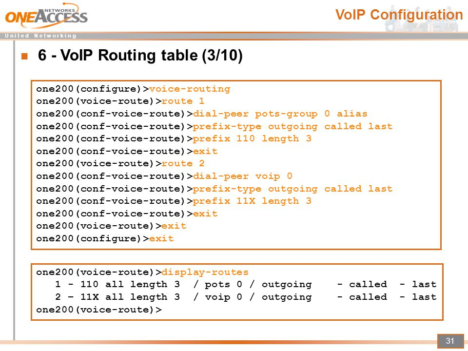 U n i t e d N e t w o r k i n g 31 one200(configure)>voice-routing one200(voice-route)>route 1 one200(conf-voice-route)>dial-peer pots-group 0 alias o