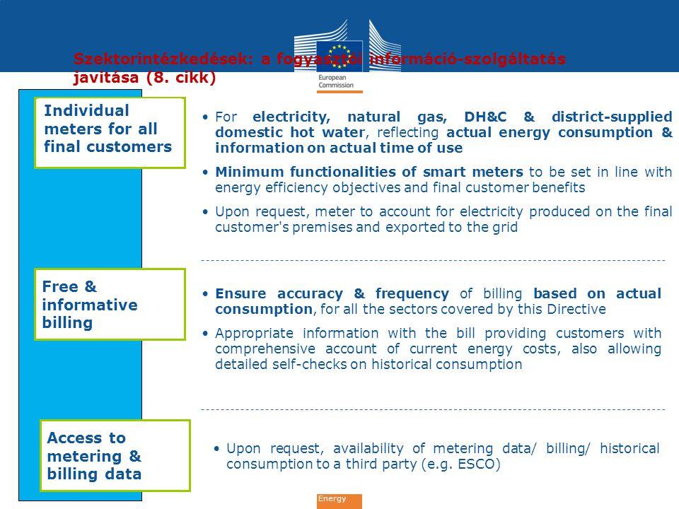 Energy Szektorintézkedések: a fogyasztói információ-szolgáltatás javitása (8.