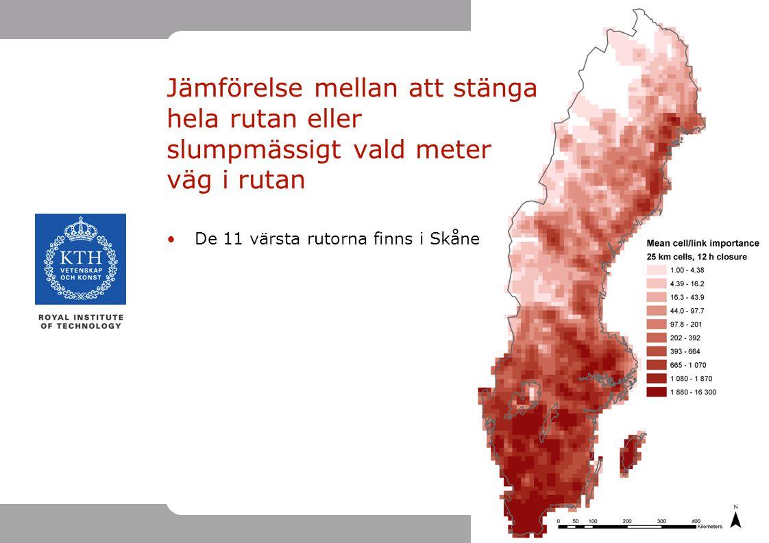 15 Jämförelse mellan att stänga hela rutan eller slumpmässigt vald meter väg i rutan De 11 värsta rutorna finns i Skåne