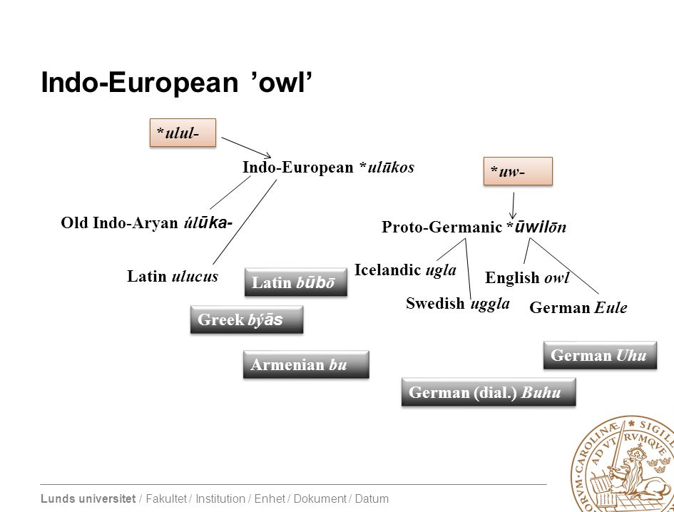 Lunds universitet / Fakultet / Institution / Enhet / Dokument / Datum Indo-European 'owl' Indo-European *ulūkos Proto-Germanic * ūwil ōn Old Indo-Aryan úl ūka- Latin ulucus *ulul- *uw- Greek bý ās Latin b ūb ō Armenian bu Swedish uggla English owl Icelandic ugla German Eule German Uhu German (dial.) Buhu
