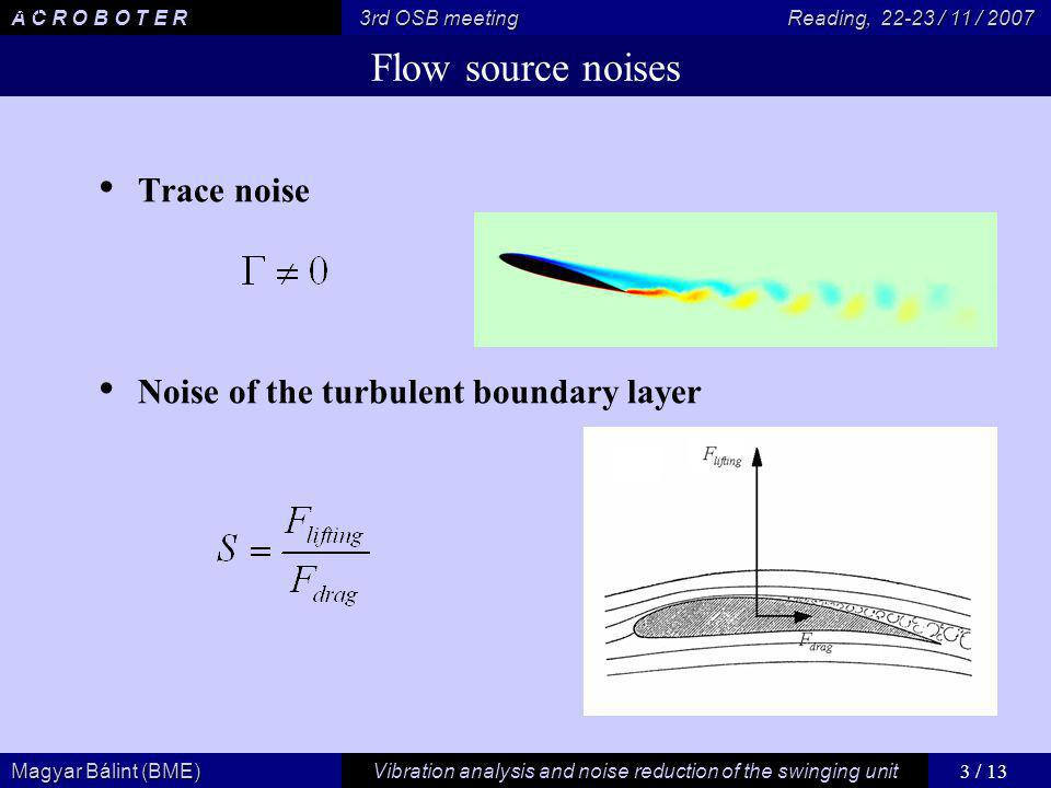 3 / 13 Vibration analysis and noise reduction of the swinging unit Magyar Bálint (BME) A C R O B O T E R 3rd OSB meeting Reading, / 11 / 2007 Flow source noises Trace noise Noise of the turbulent boundary layer