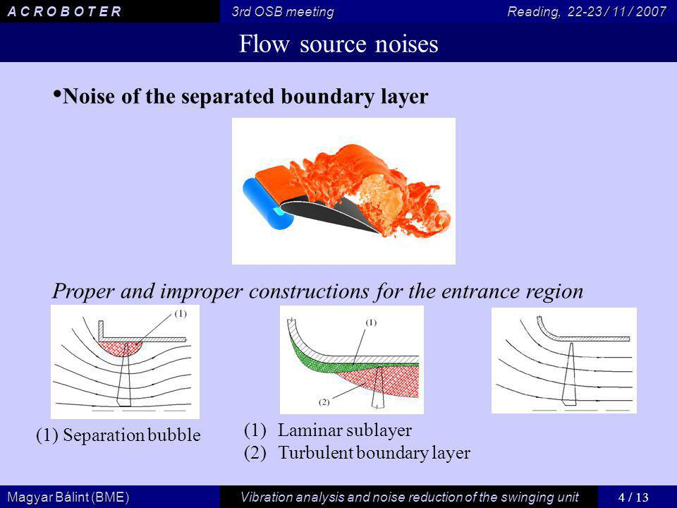 4 / 13 Vibration analysis and noise reduction of the swinging unit Magyar Bálint (BME) A C R O B O T E R 3rd OSB meeting Reading, / 11 / 2007 Flow source noises Noise of the separated boundary layer Proper and improper constructions for the entrance region (1) Separation bubble (1)Laminar sublayer (2)Turbulent boundary layer