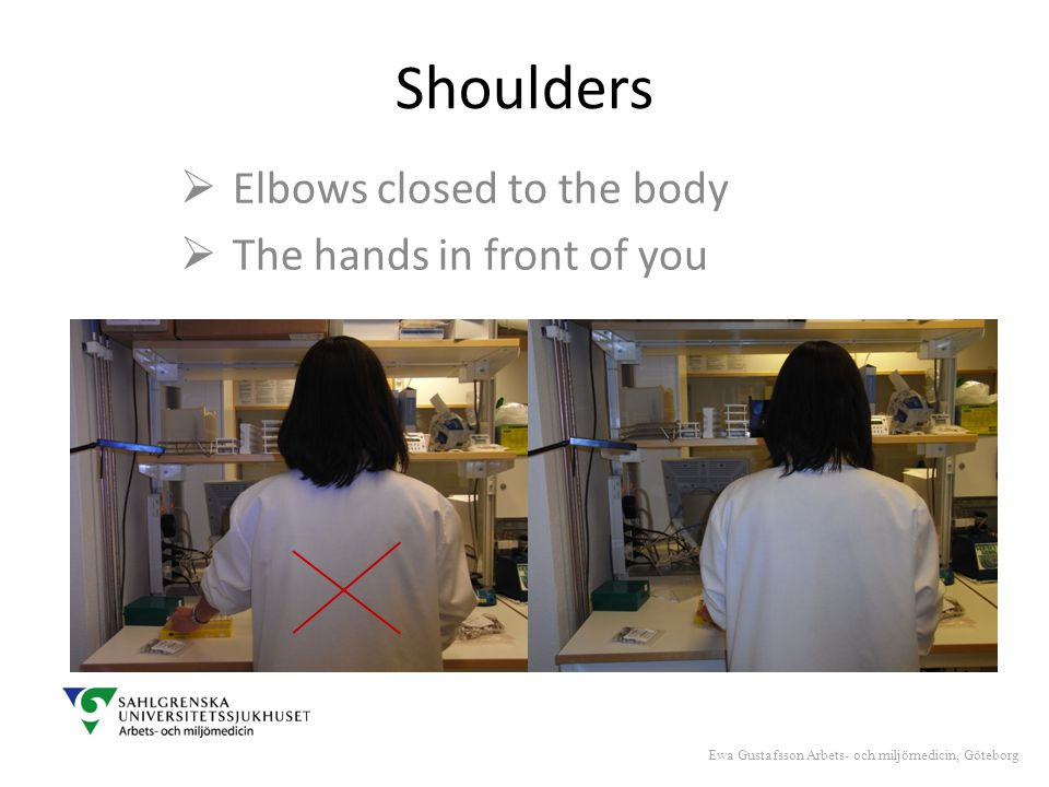 Shoulders  Elbows closed to the body  The hands in front of you Ewa Gustafsson Arbets- och miljömedicin, Göteborg