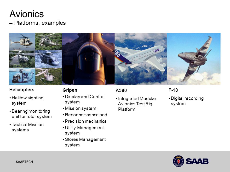 03-10-06 SAABTECH Avionics – Platforms, examples Helicopters Helitow sighting system Bearing monitoring unit for rotor system Tactical Mission systems Gripen Display and Control system Mission system Reconnaissance pod Precision mechanics Utility Management system Stores Management system A380 Integrated Modular Avionics Test Rig Platform F-18 Digital recording system