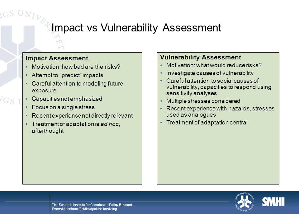 The Swedish Institute for Climate and Policy Research Svenskt centrum för klimatpolitisk forskning Impact vs Vulnerability Assessment Impact Assessment Motivation: how bad are the risks.