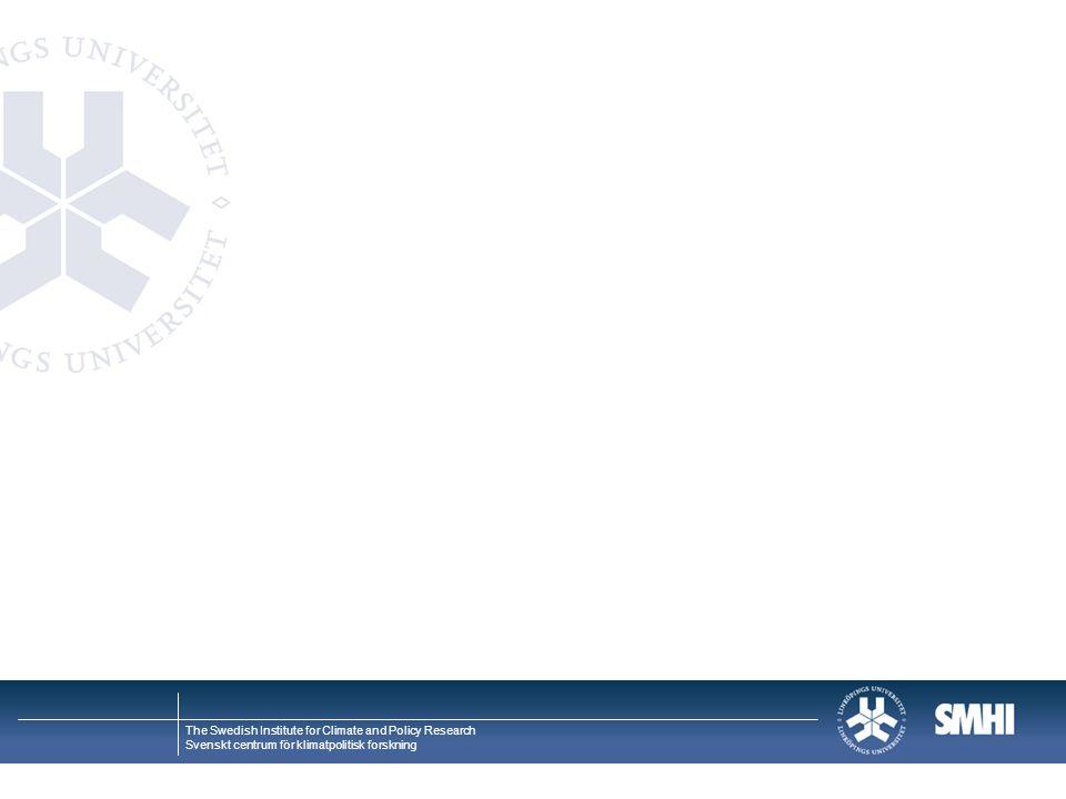 The Swedish Institute for Climate and Policy Research Svenskt centrum för klimatpolitisk forskning