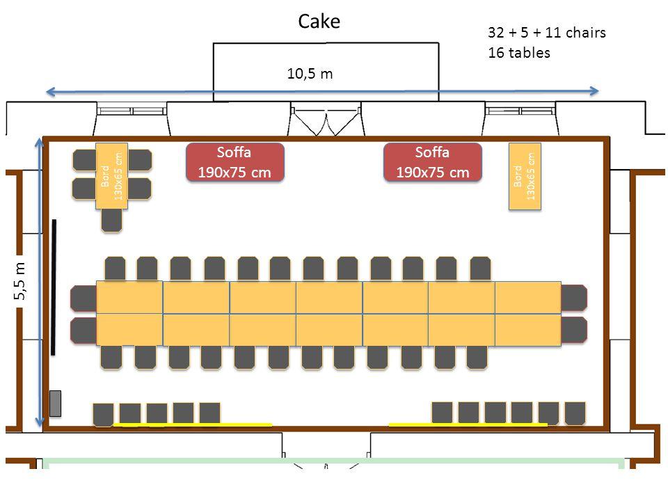 10,5 m 5,5 m 32 + 5 + 11 chairs 16 tables Bord 130x65 cm Cake Soffa 190x75 cm Bord 130x65 cm