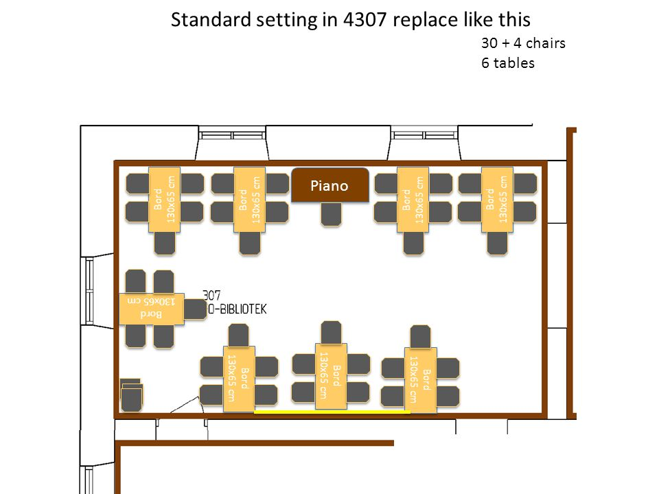 Piano Standard setting in 4307 replace like this 30 + 4 chairs 6 tables Bord 130x65 cm