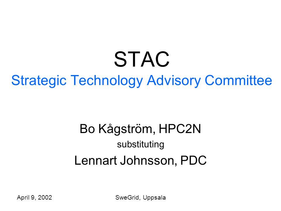April 9, 2002SweGrid, Uppsala STAC Strategic Technology Advisory Committee Bo Kågström, HPC2N substituting Lennart Johnsson, PDC