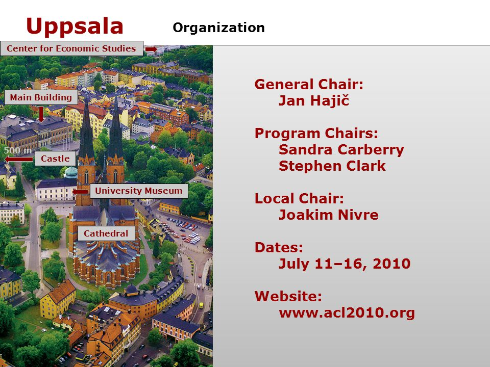 Uppsala General Chair: Jan Hajič Program Chairs: Sandra Carberry Stephen Clark Local Chair: Joakim Nivre Dates: July 11–16, 2010 Website:   Organization Cathedral Center for Economic StudiesMain BuildingUniversity Museum Castle 500 m