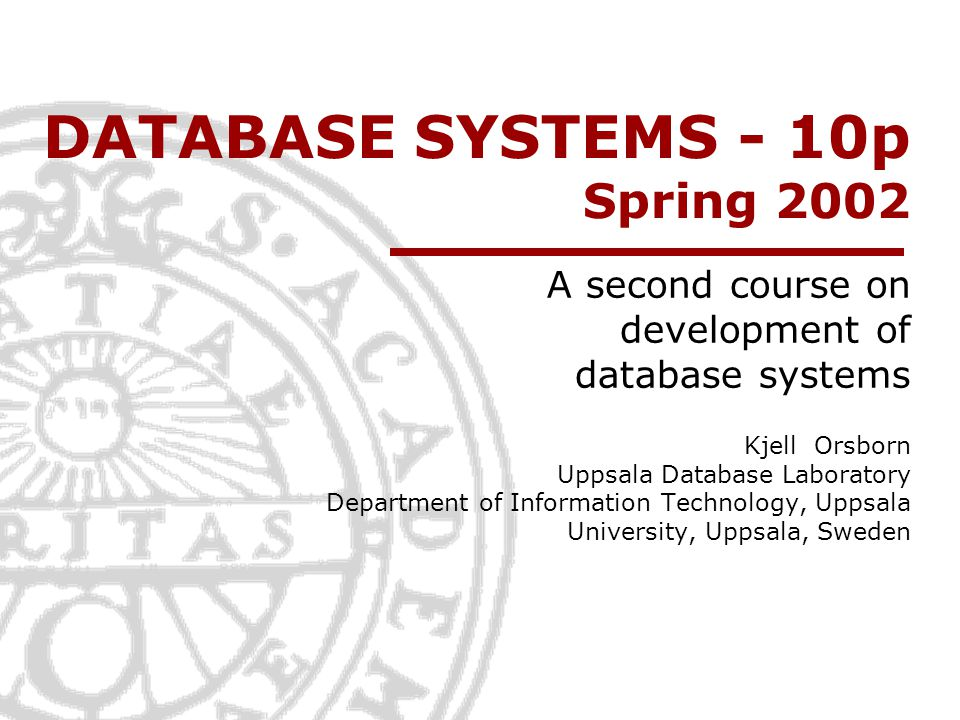 Active Database Technology Elmasri/Navathe ch 23.1 Kjell Orsborn Uppsala Database Laboratory Department of Information Technology, Uppsala University, Uppsala, Sweden
