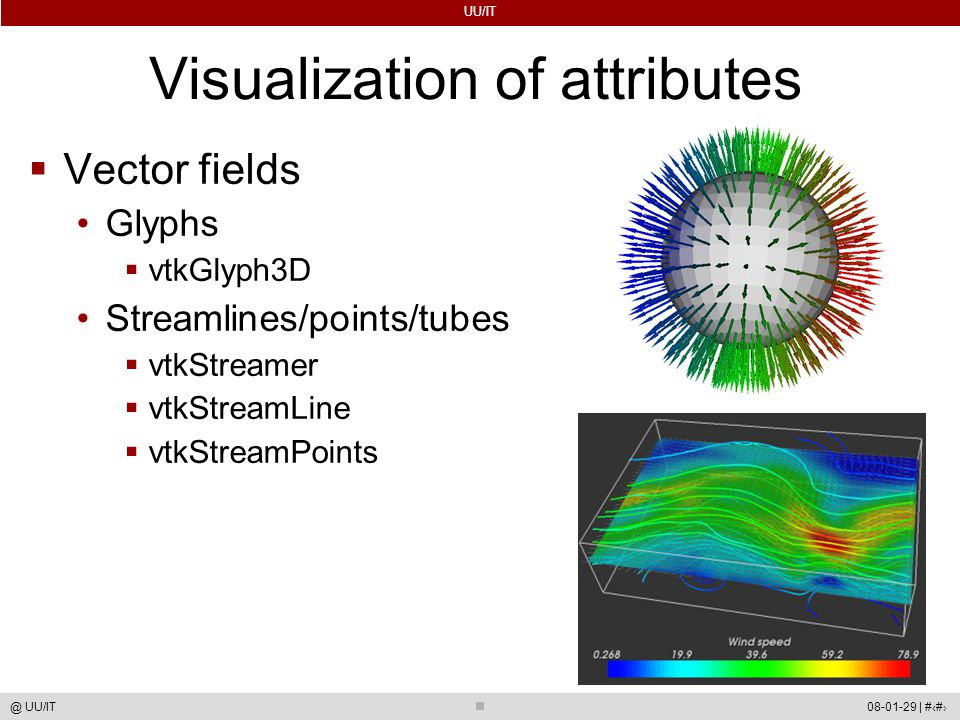 UU/IT 08-01-29 | #60@ UU/IT Visualization of attributes  Vector fields Glyphs  vtkGlyph3D Streamlines/points/tubes  vtkStreamer  vtkStreamLine  vtkStreamPoints