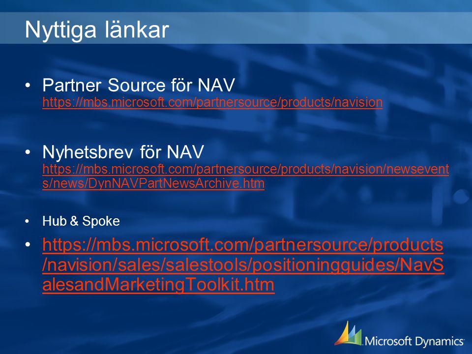 Nyttiga länkar Partner Source för NAV https://mbs.microsoft.com/partnersource/products/navision https://mbs.microsoft.com/partnersource/products/navis