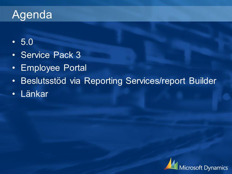 Agenda 5.0 Service Pack 3 Employee Portal Beslutsstöd via Reporting Services/report Builder Länkar