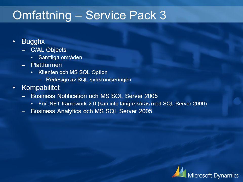 Omfattning – Service Pack 3 Buggfix –C/AL Objects Samtliga områden –Plattformen Klienten och MS SQL Option –Redesign av SQL synkroniseringen Kompabili