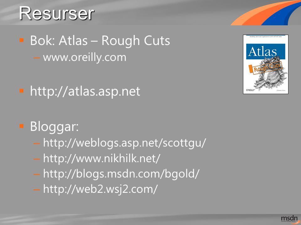 Resurser  Bok: Atlas – Rough Cuts – www.oreilly.com  http://atlas.asp.net  Bloggar: – http://weblogs.asp.net/scottgu/ – http://www.nikhilk.net/ – http://blogs.msdn.com/bgold/ – http://web2.wsj2.com/
